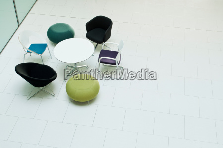 chairs and table in empty office