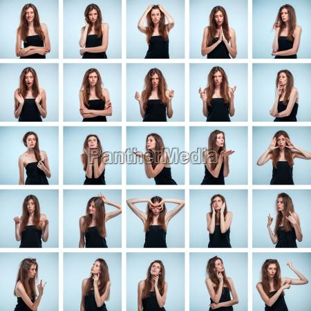 zestaw portrety mlodej kobiety z roznych