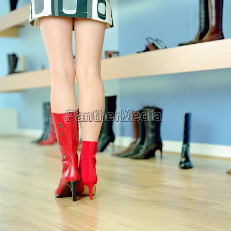 woman in shoe store