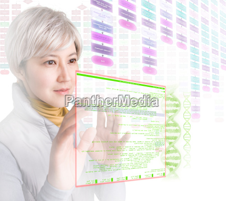 woman interacting with holographic screens