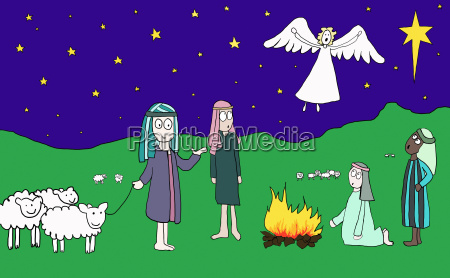 angel appearing to shepherds