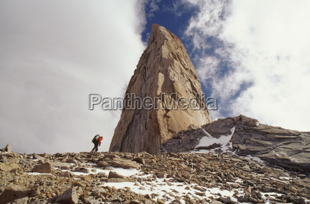 climber approaching the sword torres del