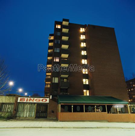 apartment block and bingo hall