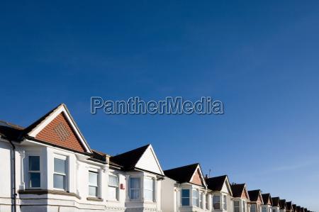 houses and blue sky