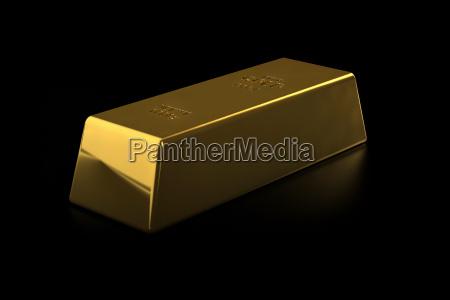 fine gold bar on black background