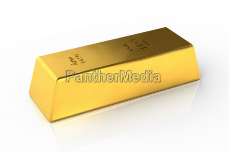 fine gold bar on white background