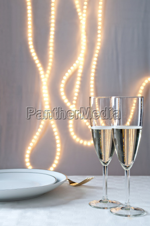 glasses of champagne on table at
