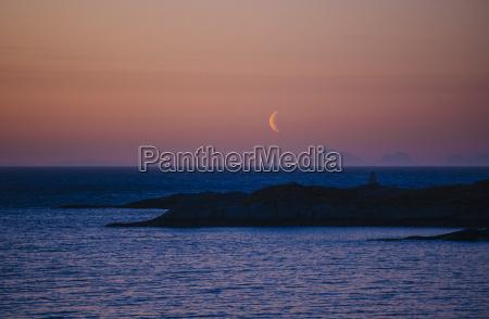 coastline at dusk reine norway