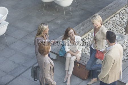 high angle view of businessman and