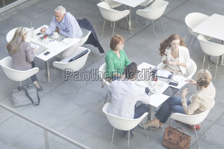 high angle view of businessmen and