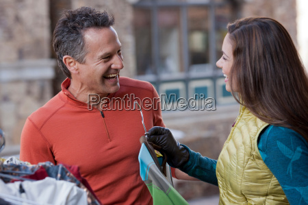 mature man and young woman clothes