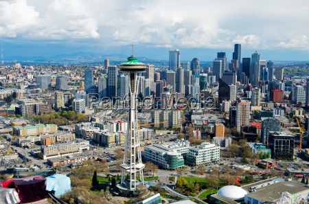 aerial view of space needle seattle