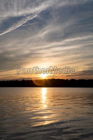 sunset over lake bath maine usa