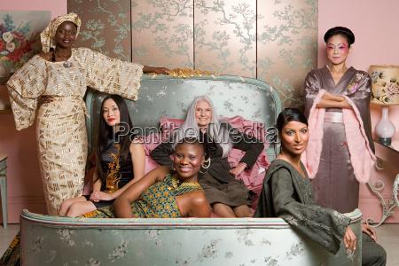 six women wearing traditional clothing
