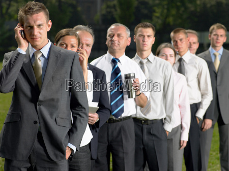 businesspeople in a queue