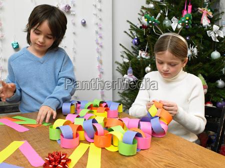 children making paper chain