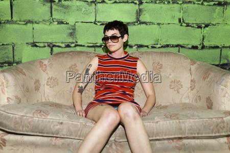 portrait of mid adult woman wearing
