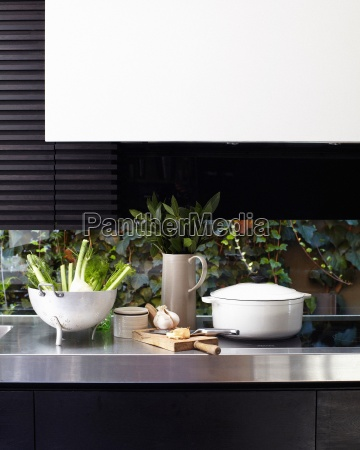 kitchen counter and hob with chopping