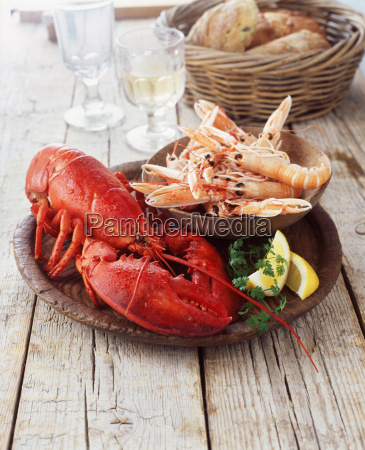 plate of lobster and prawns with