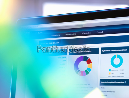 man viewing online portfolio of investments