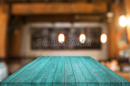 perspective blue wooden table top with