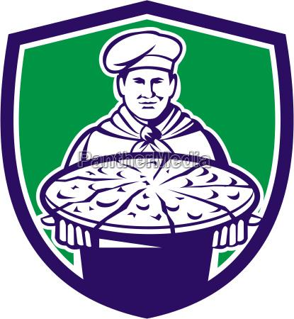 chef cook serving pizza crest retro