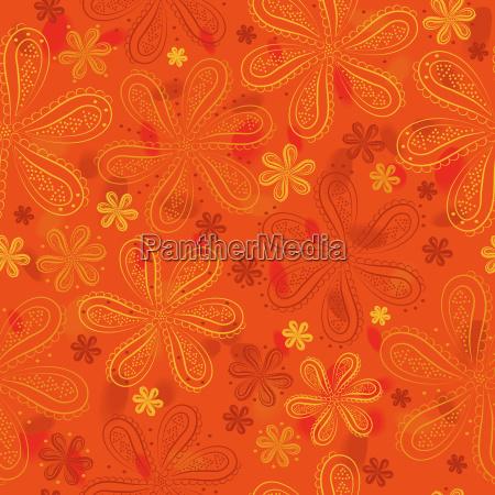 orange floral seamless pattern