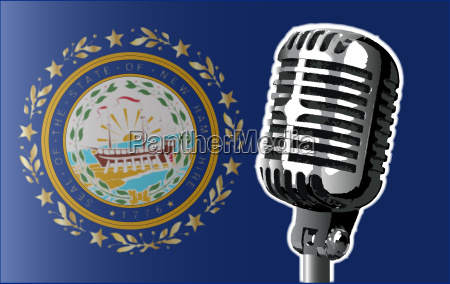 new hampshire flag and microphone