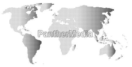 halftone world outline
