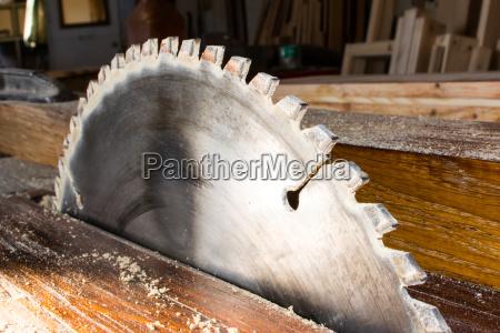 circular saw in carpenter workshop