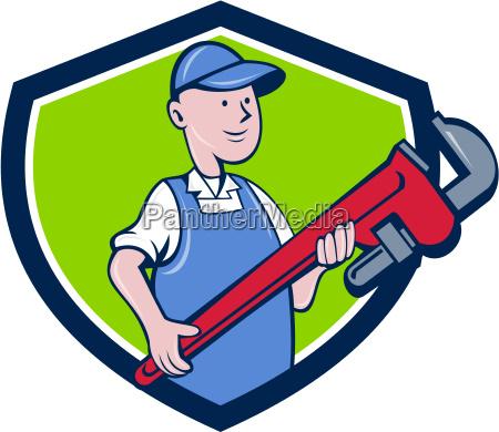 mechanic cradling pipe wrench crest cartoon