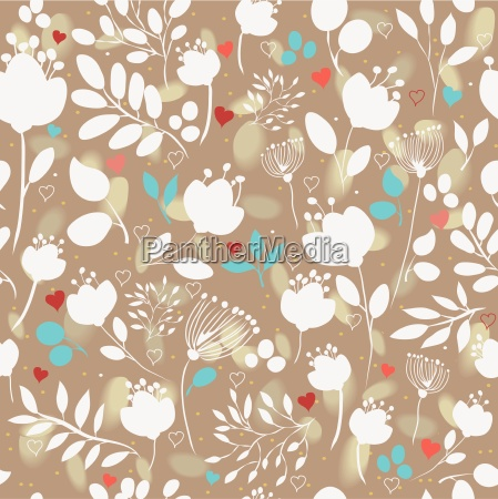 brown floral seamless pattern with white