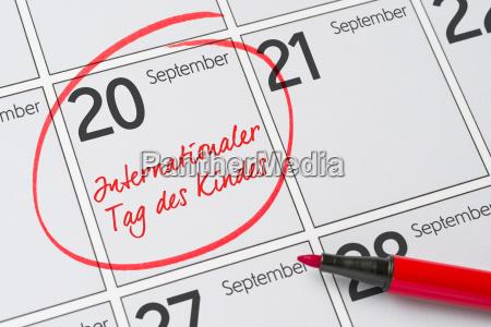 september 20 international child day