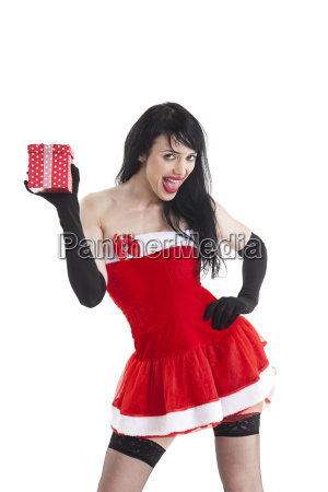 attractive christmas woman with a gift