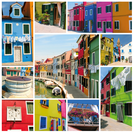 collage of burano venice
