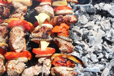 meat grilled vegetable ash
