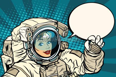 ok gesture female astronaut in a