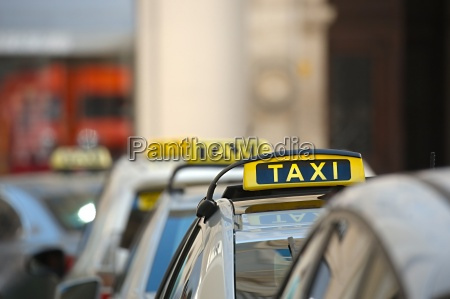 taxis on a street