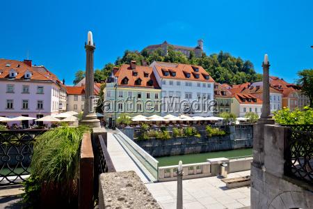 city of ljubljana river waterfront architecture