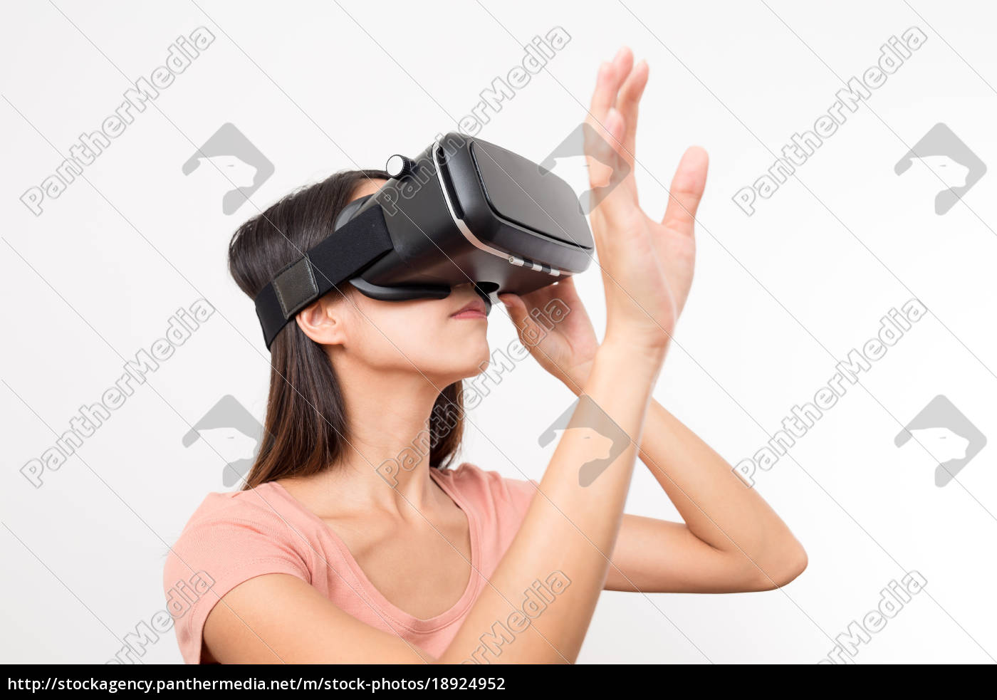 young, woman, looking, though, virtual, reality - 18924952