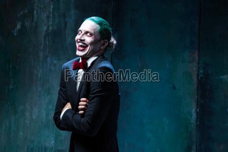 bloody halloween theme crazy joker face