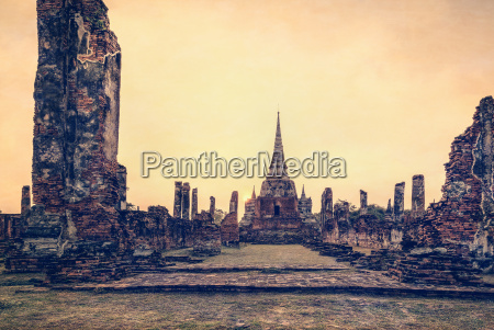 vintage wat phra si sanphet thailand