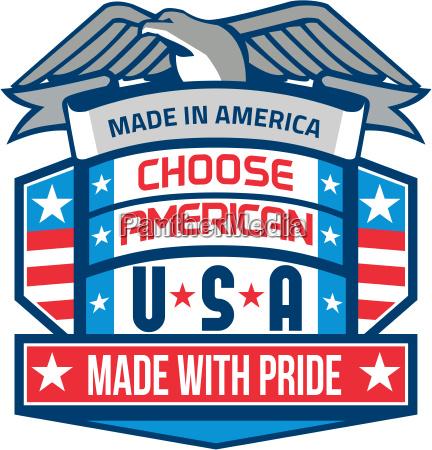 made in america patriotic shield retro