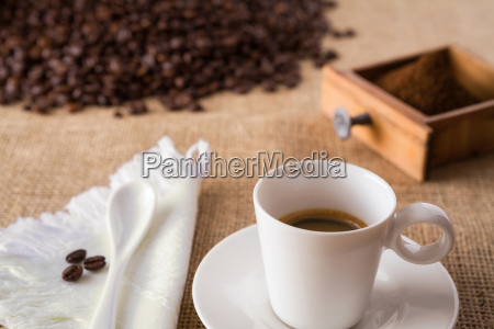 coffee with coffee beans on jute