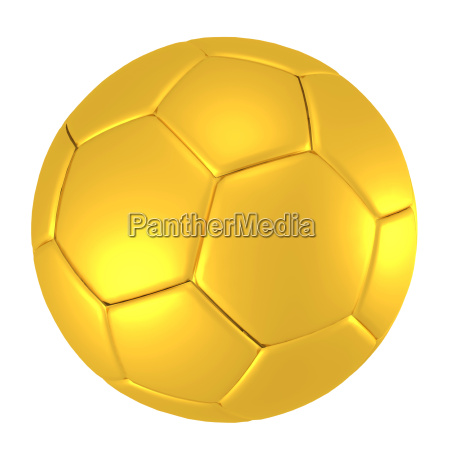 golden soccer ball isolated on white