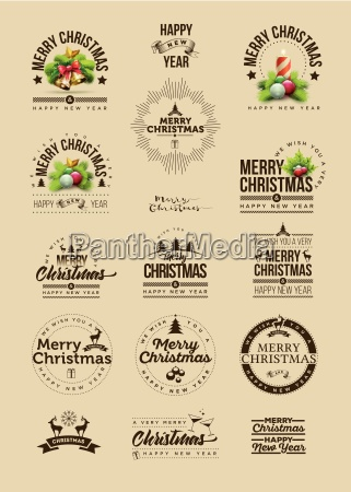 vector christmas and new year decoration