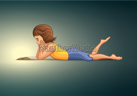 girl lying down and reading book