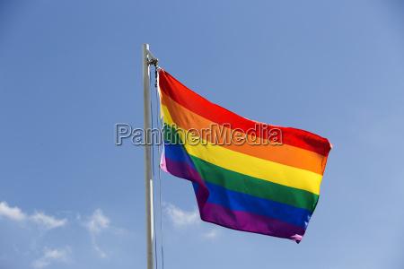rainbow flag on a flagpole