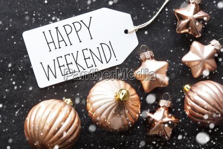 bronze christmas balls snowflakes text happy