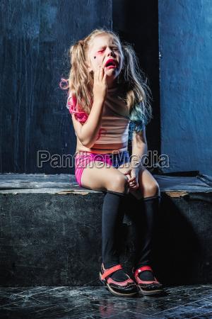 the crying crasy girl on dark